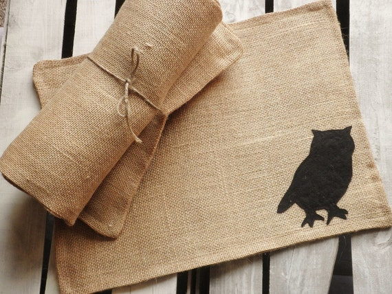 Set of 4- Wildlife Themed-Natural Burlap Placemats-Double Sided- 4 Colors Available- Rustic/Country/Folk Decor