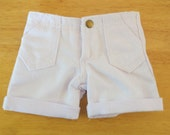White Cuffed Denim Shorts - 18 Inch