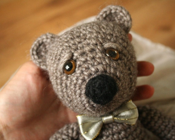 Crocheted Teddy Bear - Dark Grey with Silvery Bow Tie - Crocheted Toy - Stuffed Toy