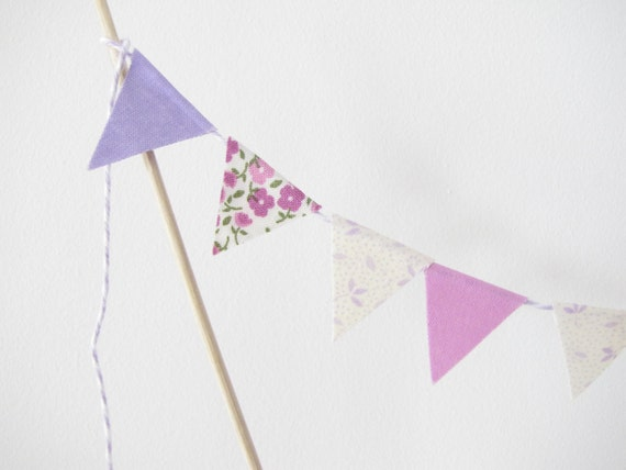 "Fabric Cake Topper - Bunting Decoration - Wedding, Birthday Party, Shower Decor ""Petunia"" Mothers Day flowers floral orchid lilac purple"
