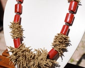 Rubber and Plastic beads Necklace - Beige Havana Brown and Red - Eco Friendly
