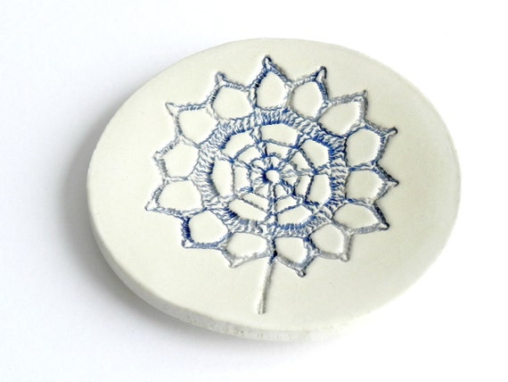 Ceramic Blue Flower Ring Dish Minimalist Round Plate White Pottery