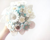 Bridal wedding bouquet, alternative bouquet, white, cream and blue flowers, felt and vintage buttons, bridal accessory - AbraKadabraJewelry