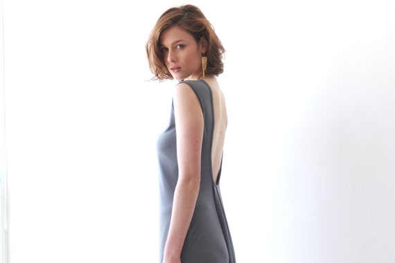 Sleeveless,Backless ,Maxi Dress, Gray Evening dress