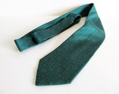 Emerald green silk necktie woven silk necktie Lanvin necktie Pantone emerald green tie gift for him vintage necktie teal green groom necktie - vintageview1