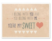 Sweetheart Print - 5x7 Typography Print - Lumineers Music Quote - Romantic Sweet Folk Quote - I Belong With You - IslaysTerrace