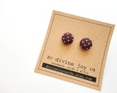 Brown Polka Dot Button Earrings, Fabric Post Earrings - DivineJoyCards