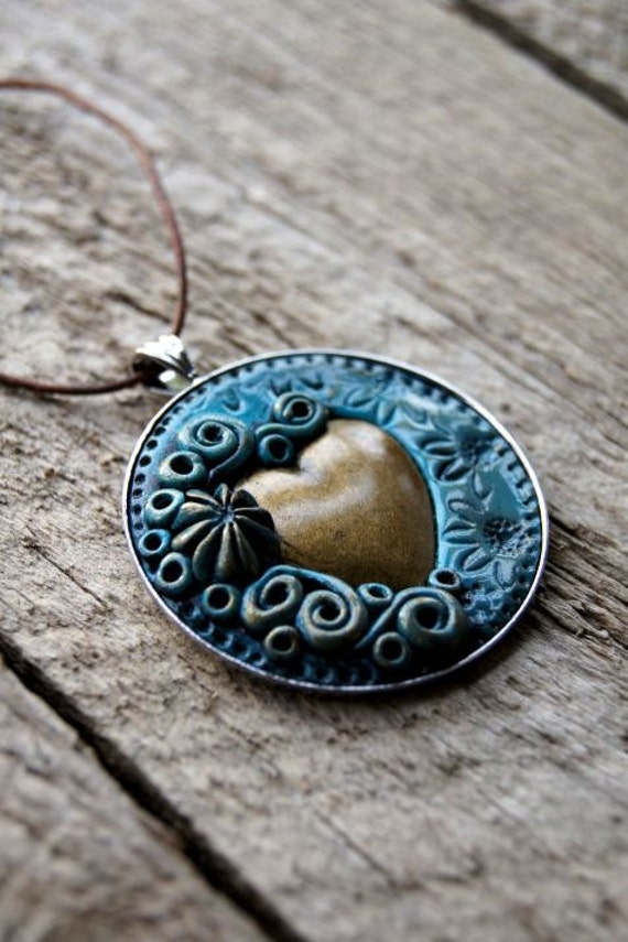 Copper and Turquoise Heart Pendant