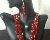 Free US Shipping: Red Black and Pink Crocheted Necklace & E Gift Set