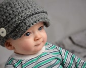 Newborn-2T Baby, Grey Newsboy Crochet Hat, Great Photo Prop - Cute As A Button Little Boutique