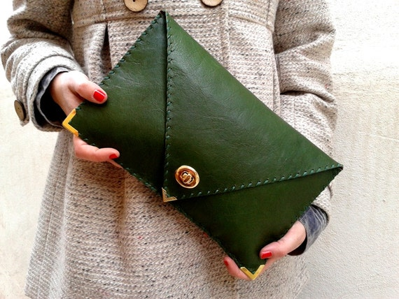 green and gold hand stitched clutch purse