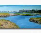 """MARSHLANDS early Spring, Biddeford Pool , Maine .Landscape  painting in oil , ORIGINAL, 10 """" X20 """" .  Expressive"""