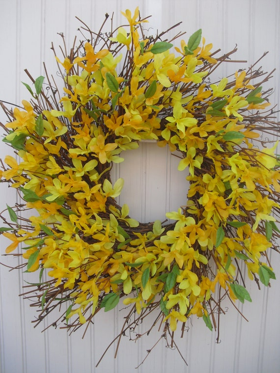 Forsythia Spring Wreath on Spiral Grapevine Twig Wreath