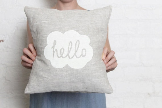 Hand Printed Linen Cushion Cover - Hello