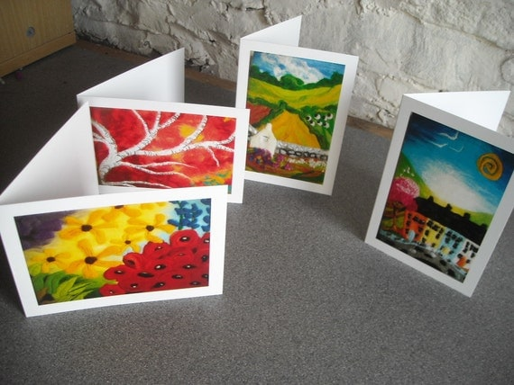 art cards, pack of four cards, greetings cards