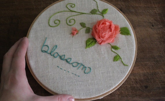 Embroidered Wall Art // Fiber Art // Silk Flowers and Vines // Blossom Wall Hanging