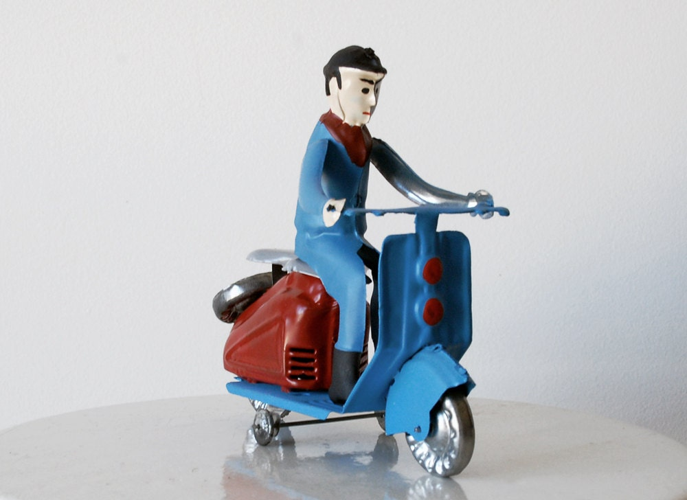 Vintage Tin Toy Scooter With Rider 1970s on Portugal Pop