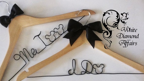 NEW 2013 Mickey and Minnie Mouse Disney Themed Wedding Dress Hanger, I Do Me too Set, Personalized Bridal Hanger, Personalized Bridal Gift
