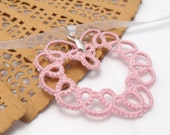 Tatting heart necklace -Sweet heart  - tatting lace pendant in pink color with silver ribbon, Valentine's Day gift - MadeByRevi