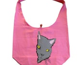 Curious Gray Kitty Pink Shoulder Hobo Bag