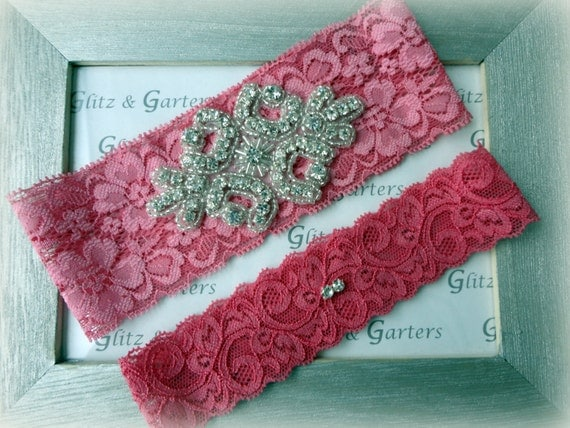 Wedding Garter Set - PINK Lace SILVER Rhinestone Crest Show & Dual Stud Toss - other colors available