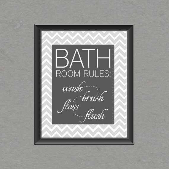 chevron bathroom wall art, PRINTABLE