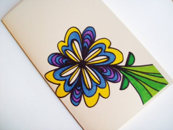 Handmade Greeting Card Blue Yellow Purple Flower