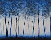 "Cobalt Forest 24"" x 48"" acrylic painting - VenskeArtStudio"
