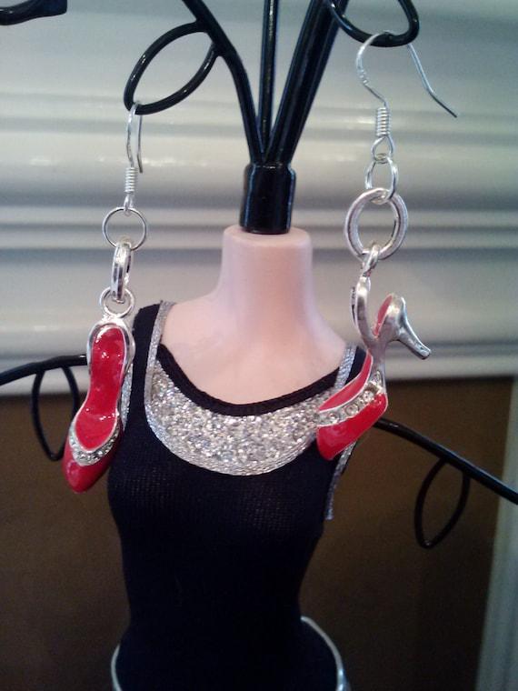 Red High Heel Pump Rhinestone Sterling Silver Fashion Trendy Earrings