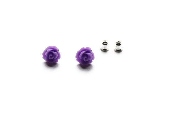 Rose Earrings Studs. Flower Earrings. Resin Rose Earrings. Bridesmaid Jewelry. Wedding Jewelry.