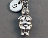 Venus of Willendorf, Woman of Willendorf, goddess fertility, antique silver pewter, initial necklace, hand stamped, Personalized necklace