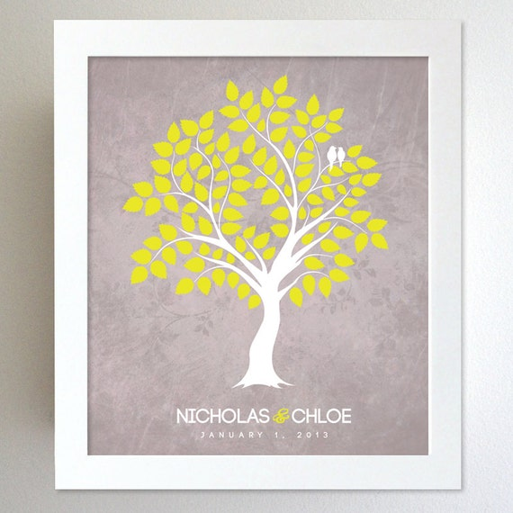 Personalized Wedding Gift - Family Tree - Engagement Gift - Custom Colors for the home 8x10 Print