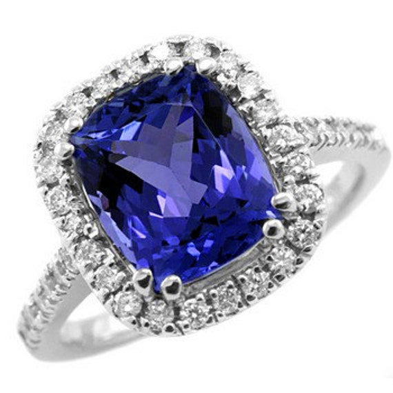 4.45ct Cushion AAA Tanzanite & Diamond Engagement Cocktail Ring 14k Gold Halo Setting