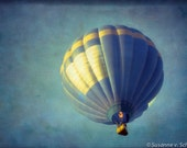 Kids Wall Art, Hot Air Balloon, Blue and Yellow, Photography Fine Art Print, Magical Fantasy, Blue Sky, Nursery Wall Decor - SoulCenteredPhotoart
