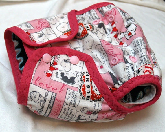 Valentine's One-size PUL double gusset diaper cover
