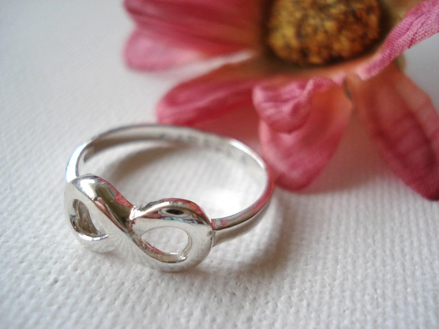 Infinity Sterling Silver Custom Ring Engrave Any Message Best Sisters Ring