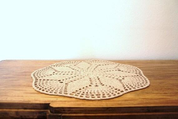 Beige Crochet Round Doily by zwazo
