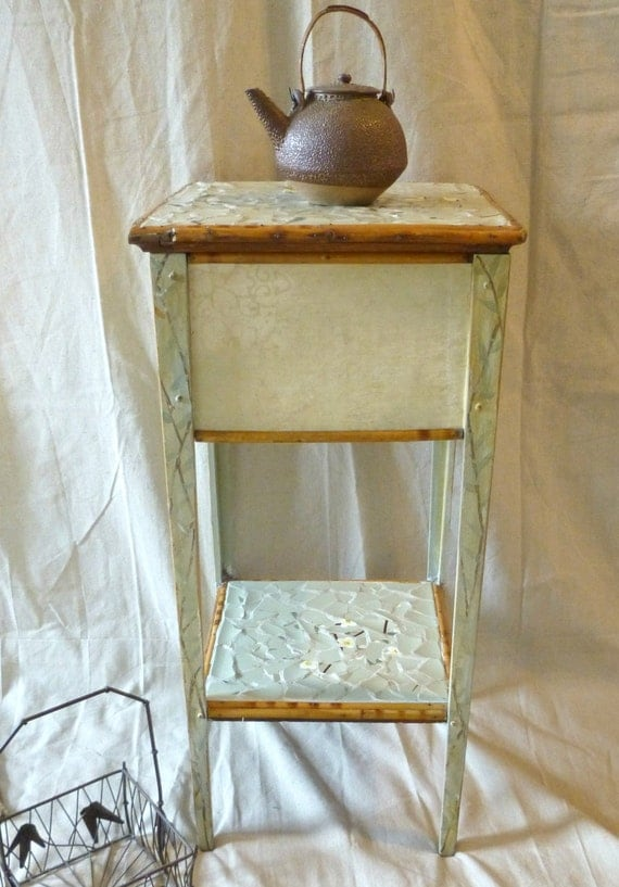 Painted Table - Sewing - Storage - Mosaic - Antique - Bamboo