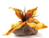 Fantasy Felted Flower Pin Brooch in Orange - GrubeSiolo