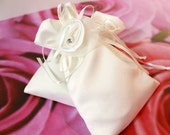 White Satin Drawstring Wedding Favor Bag with Rhinestone Satin Ribbon Rose - Set of 50 Wedding Favor Bags