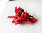 Red Rose Wedding Boutonniere. Preserved Red Rose Hydrangea Maple Men's Wedding Boutonniere. Rustic Boutonniere for Country Woodland Wedding