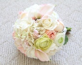 Real Touch Bouquet. Real Touch Calla Lilies Roses Peonies Ranunculus Wedding Bouquet. Romantic Shabby Chic Real Touch Bridal Bouquet