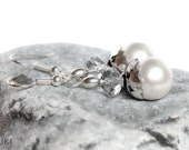 Silver plated earrings with white Swarovski pearls, Beaded, Handmade, Elegant, Pearl earrings - YUKIJewellery