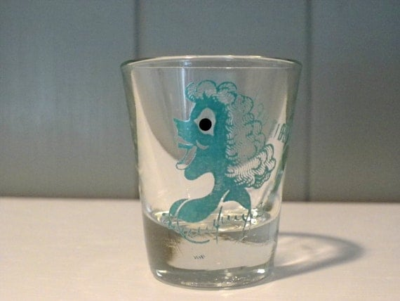 Vintage Roving Google Eye Shot Glass Busty Girl Anchor Hocking Fill 'Er Up