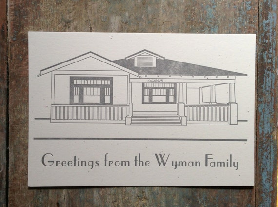 Personalized House Letterpress Stationery