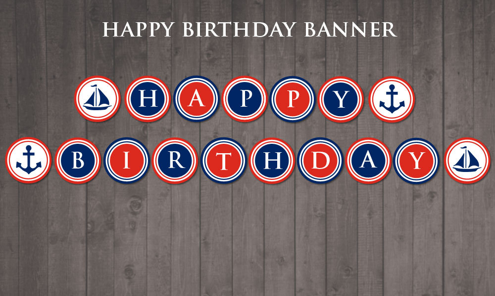 Nautical Happy Birtday Banner