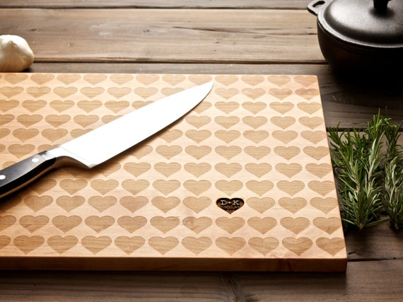Personalized Carved Heart Wood Cutting Board
