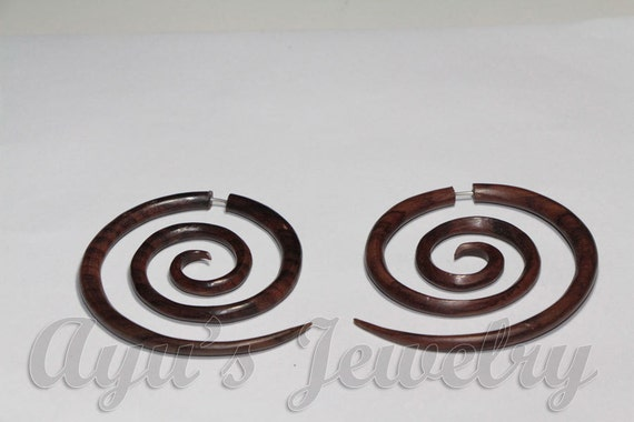 Large Spiral 20gauge Brown Fancy Wooden Fake Gauge Tribal Design Earrings