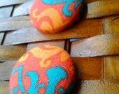 Fabric Button Earrings-Marrakesh
