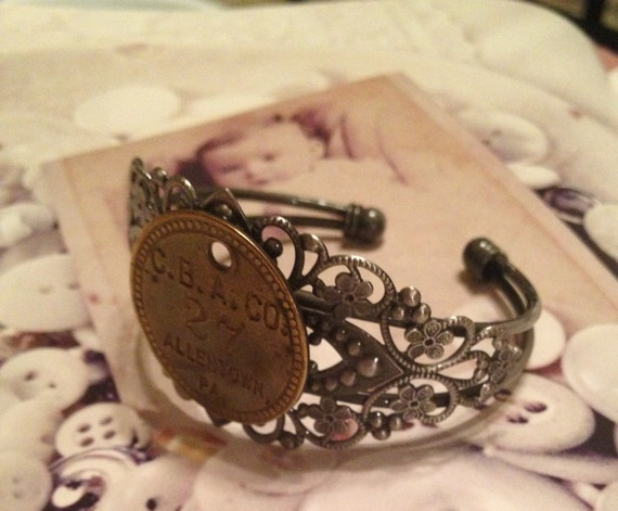Brass Tag Filigree Bracelet